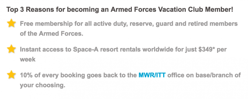 AFVC - Armed Forces Vacation Club Military Benefits