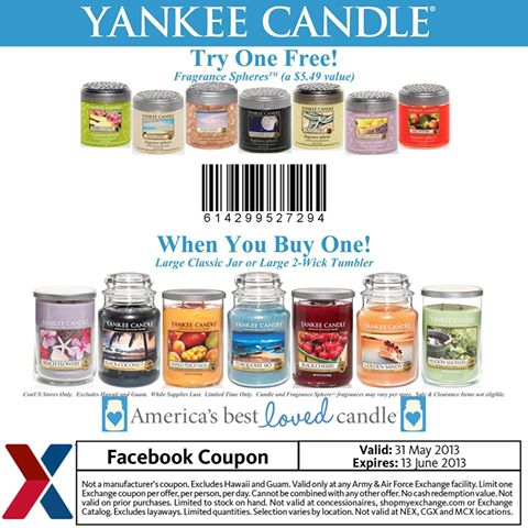 Military Exchange - BOGO FREE Yankee Candle Store Coupon!