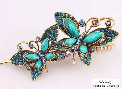 vintage inspired crystal butterfly hair pin clip
