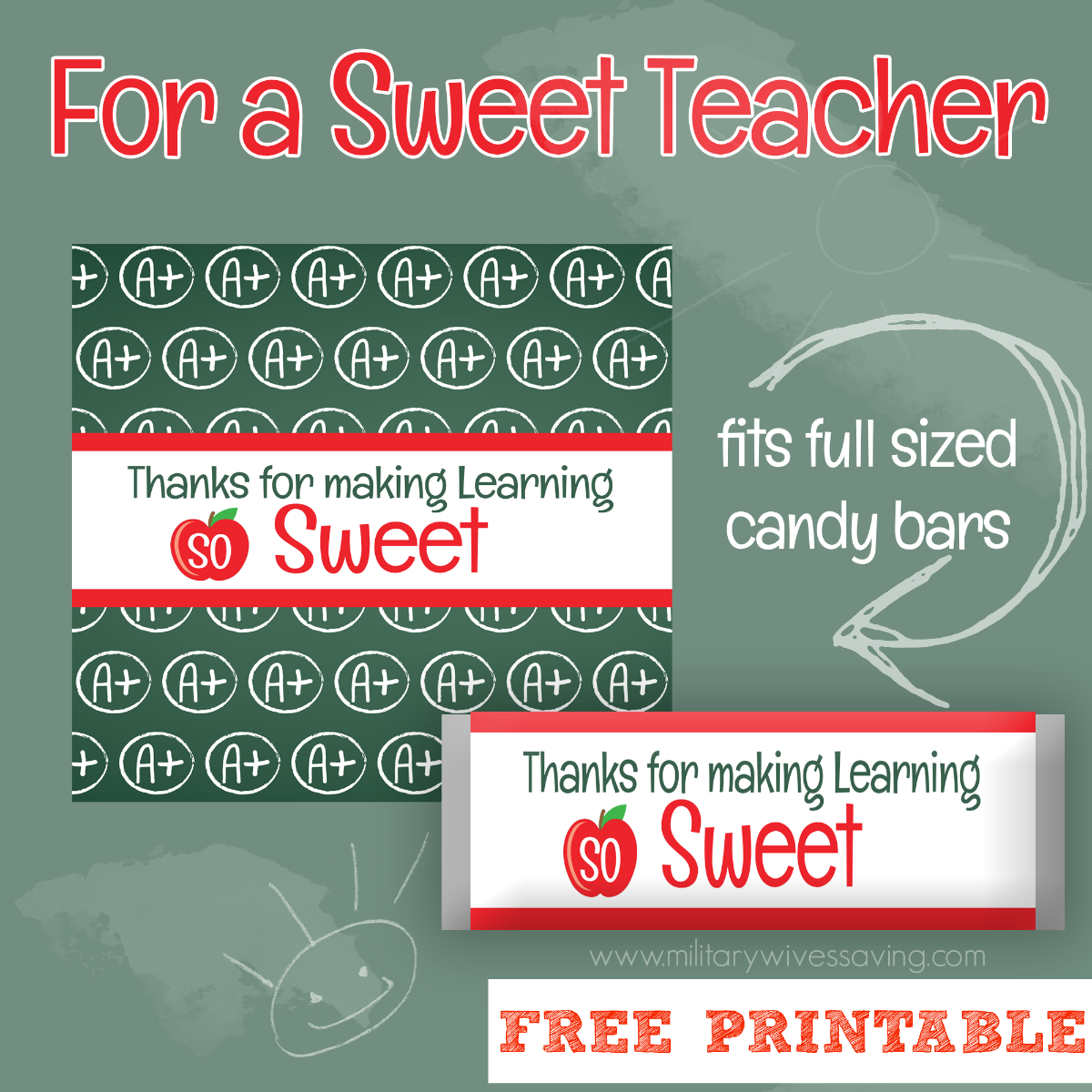 image about Printable Teacher Appreciation identified as Totally free Instructor Appreciation Sweet Wrapper Printables