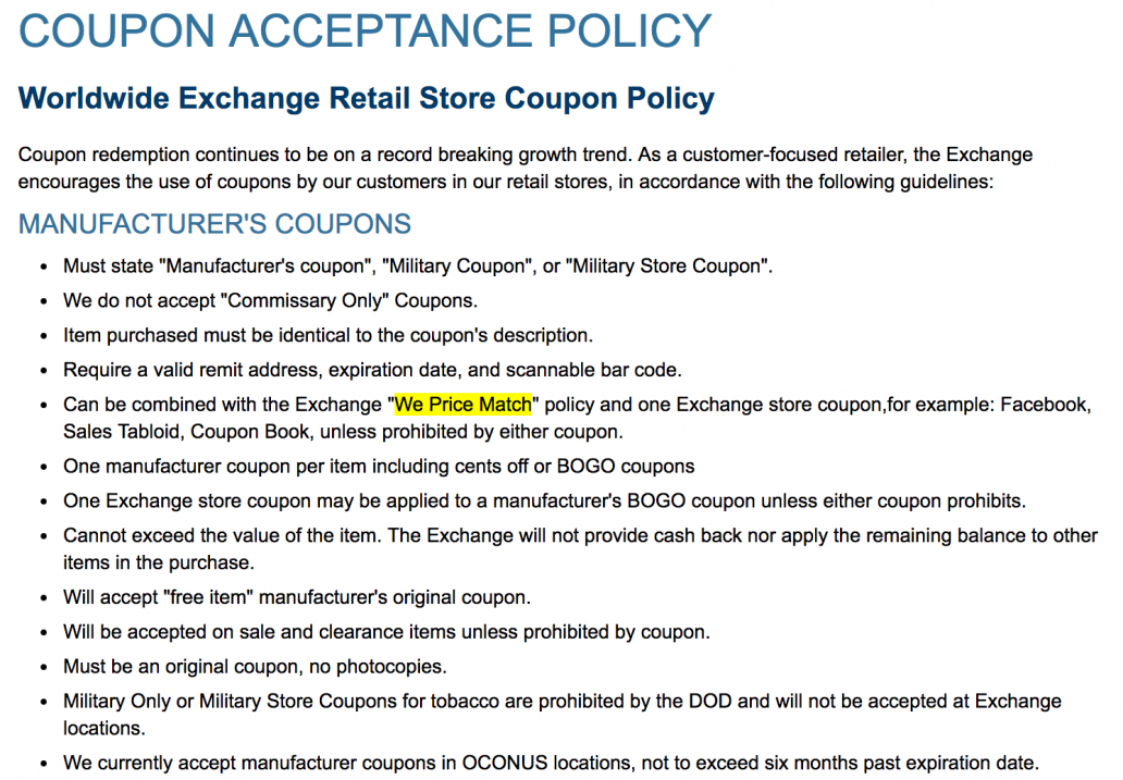aafes exchange coupon policy