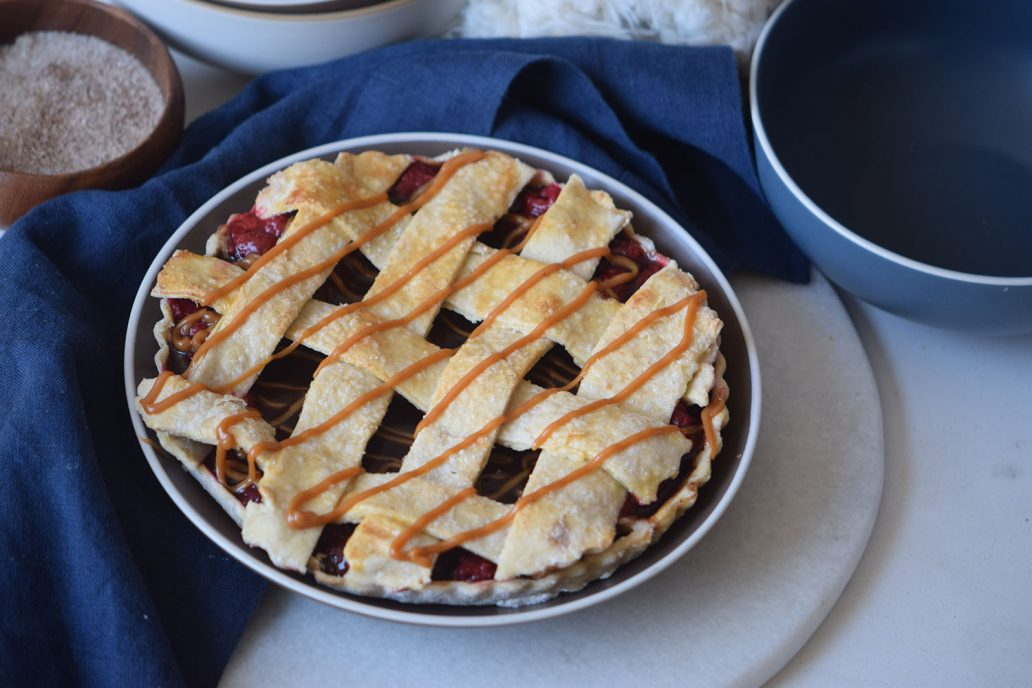 Homemade Caramel Berry Pie